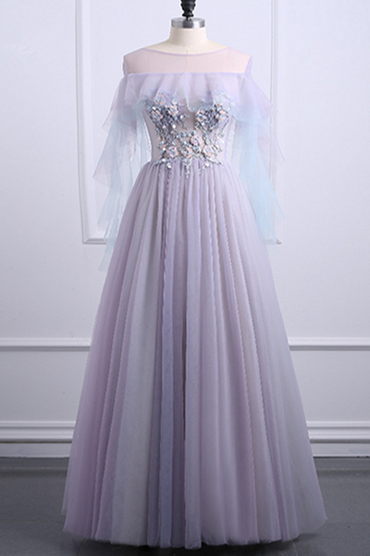 Cute light purple tulle scoop neck long A-line plus size senior prom dress  from Girlsprom