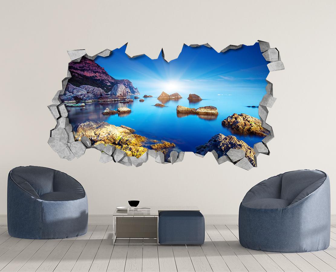 superb 3 D Wall Art Part - 4: Rocky Sea - 3d Wall Art - Broken Wall - 3d Wall Stickers - Wall Sticker