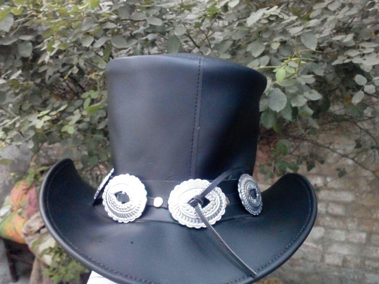 ec9651fb5dcdd3 Handmade Genuine Black Leather GUNS N ROSES SLASH Style Mens Top Hat ...