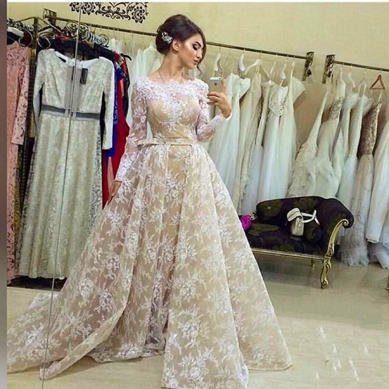 e674d08123a 2018 Detachable Train Prom Dresses Long Sleeve Evening Dress Lace Appliques  Arabia Party Gowns on Storenvy