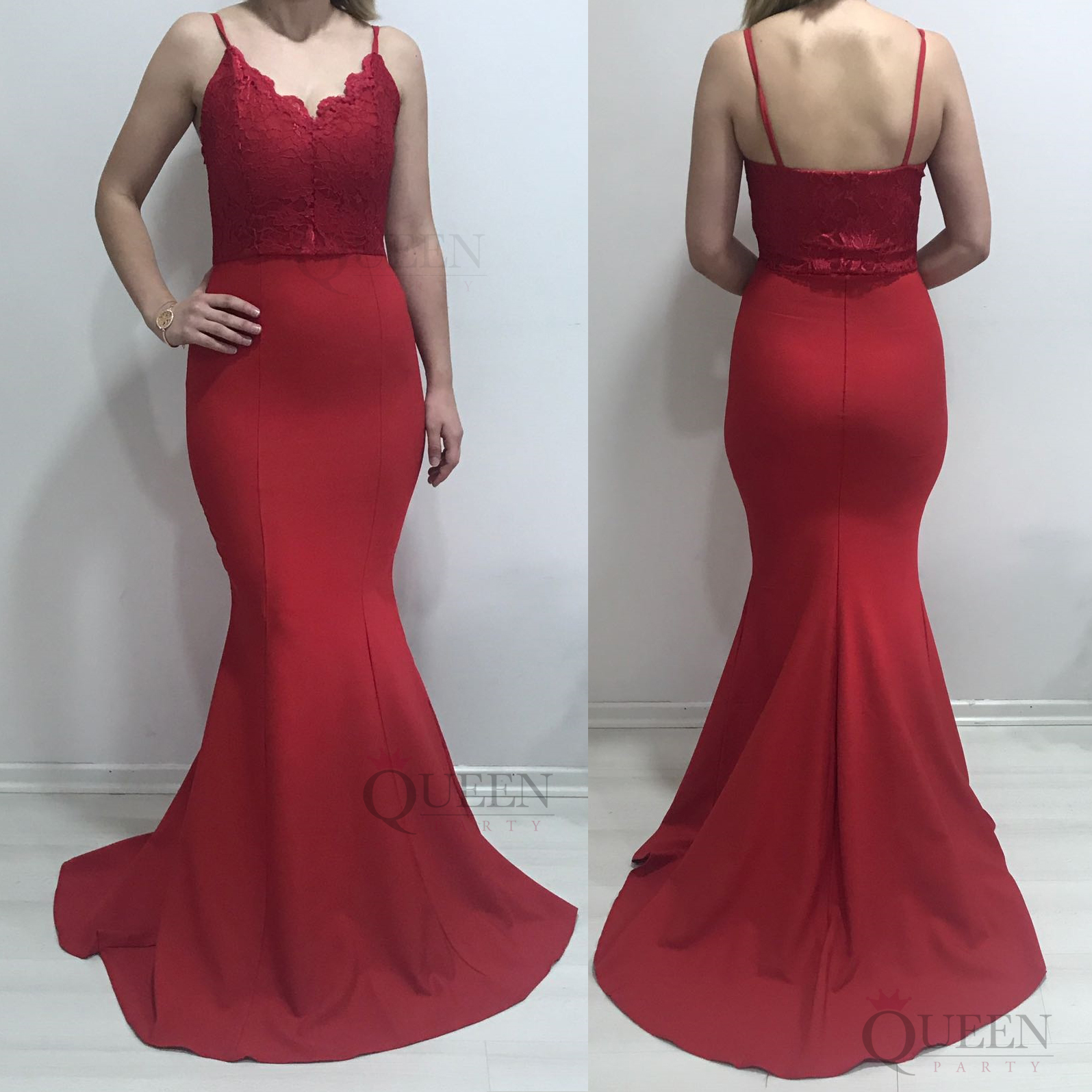 d5c64a08f39c8 Spaghetti Strap Red V Neck Sleeveless Lace Top Mermaid Satin Long Formal  Dress With Zipper