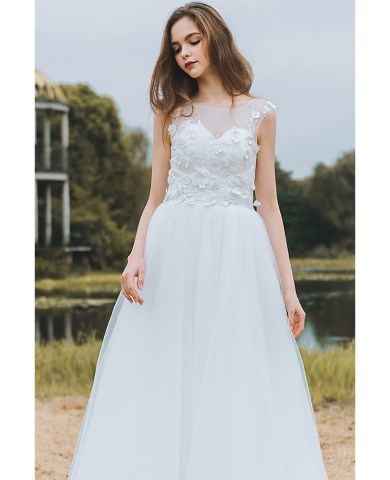 1ae6e119d515 Trendy A-Line Bateau White Tulle Long Wedding Dress with Lace Appliques on  Storenvy