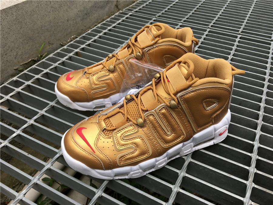 1b40c6d17ca Supreme x Nike Air More Uptempo Metallic men s Gold White For Sale ...
