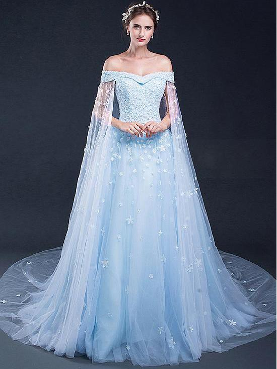 Princess Evening Dresses, Light Blue A-line/Princess Evening Dresses ...