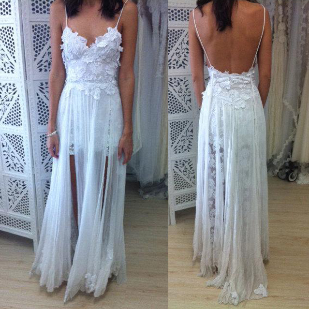 55c1271e7c White Boho Spaghetti Straps Lace Long Beach Wedding Dress,Backless Bridal  Gown,W32