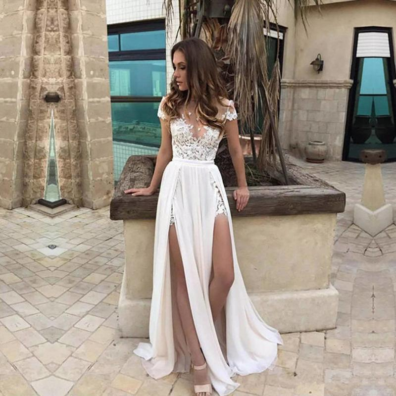Sexy Short Sleeve See Through Lace Evening Prom Dresses Popular