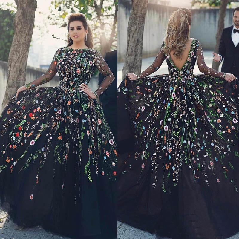 Evening Dresses 2018 Long Sleeves Floral Embroidery Jewel Neck Plus Size  Black Prom Party Dresses Formal Gown With Backless