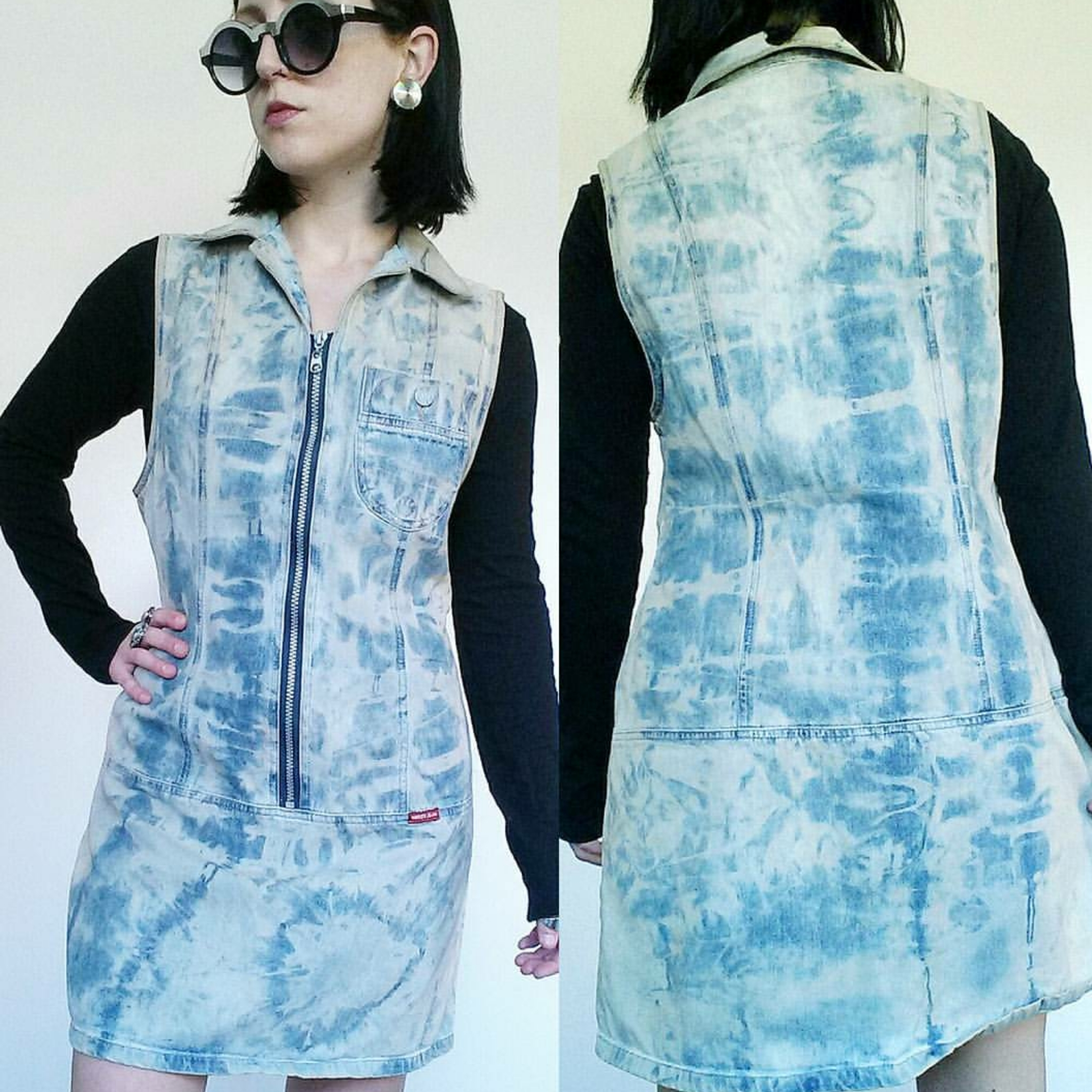 a6e0de3b230 90 s Tie Dye Denim Dress - Vintage Bleached Denim Mini Dress - Short ...