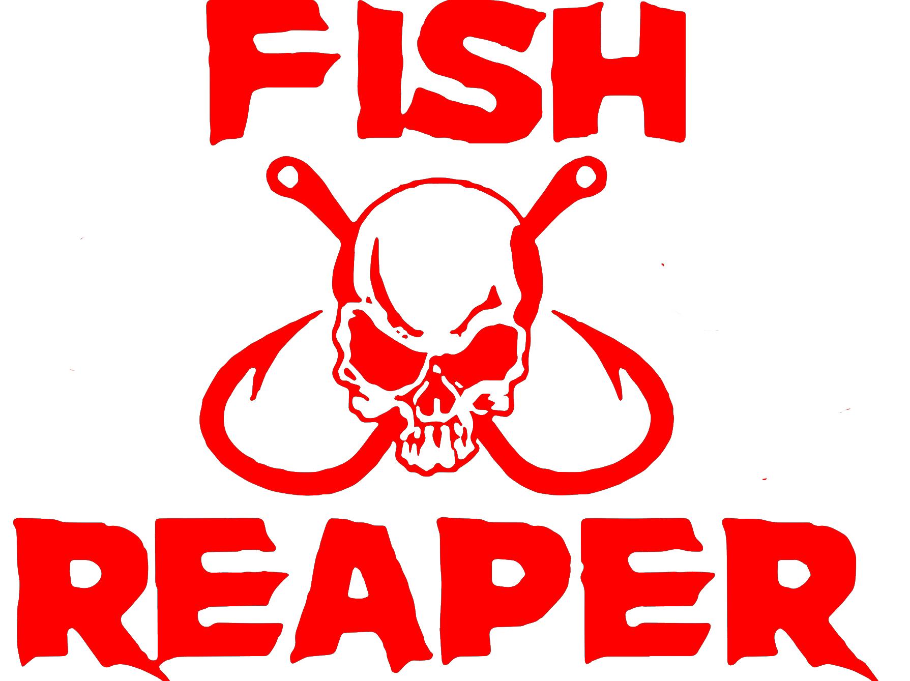 Custom fish reaper outdoor large decal window sticker fisherman skull hook vinyl decal