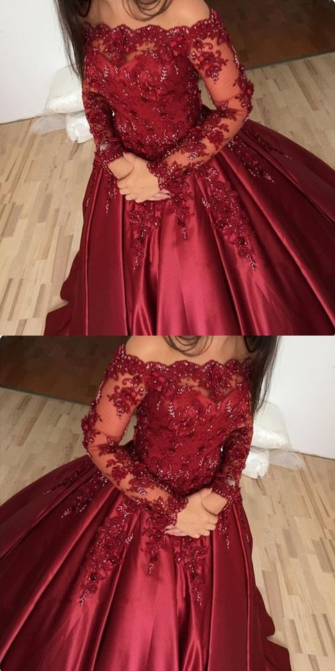 burgundy prom dress, off shoulder ball gowns, lace long