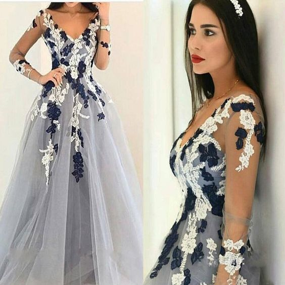 52175be9696 LONG SLEEVES APPLIQUED BALL GOWN V-NECK UNIQUE FORMAL PROM DRESS.9 ...