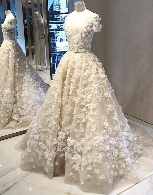 29c8b0434 Charming Wedding Dress, Short Sleeve Tulle Wedding Dresses with ...
