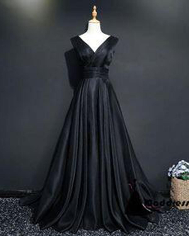 5cac994d143 2018 simple black satin long V neck prom dress