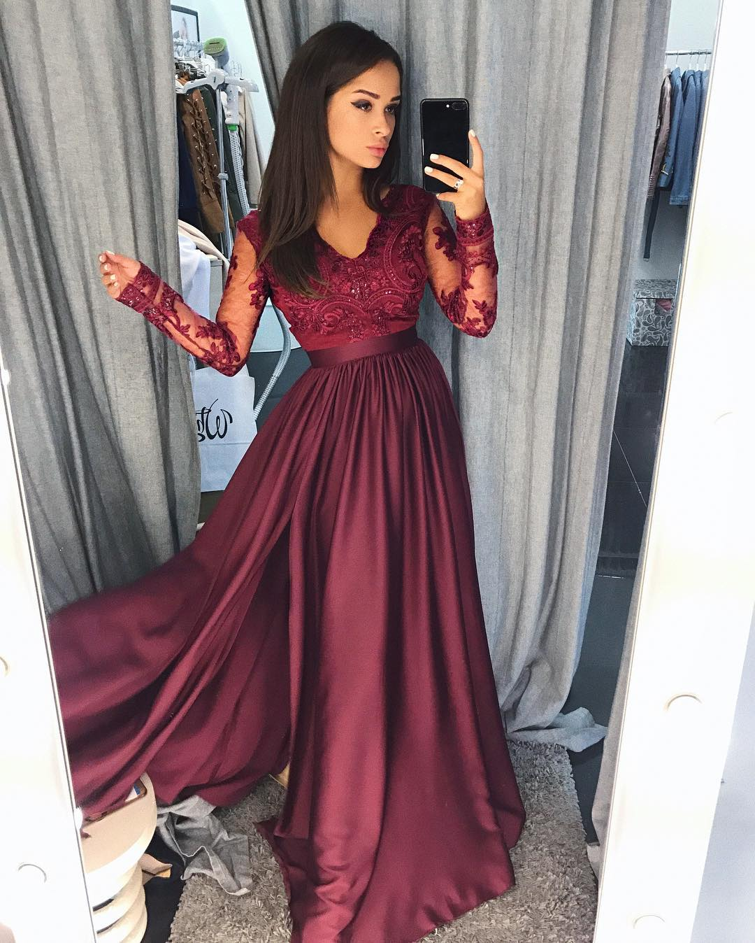 914e74978c1 V-Neck A-Line Prom Dresses Lace Graduation Dress Cheap Evening Dress  Chiffon Fashion Dress Slit Party Gowns 2018 Hot Long Sexy Prom Gowns on  Storenvy