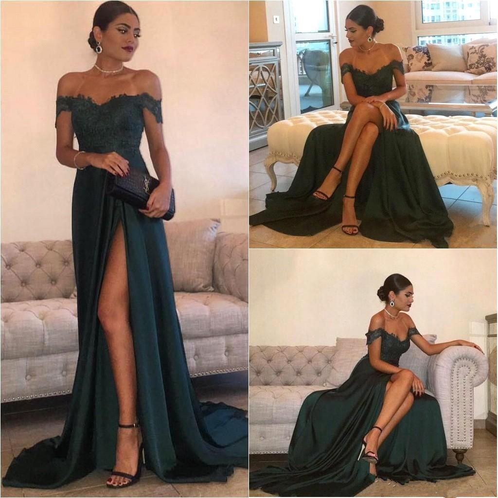 9b69f181568 Sexy Dark Green A Line Off Shoulder Lace Prom Dress With Train on ...