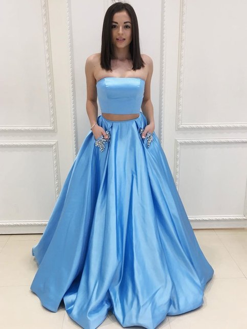 Sexy Two Pieces V Neck Lace Beaded Strapless Blue A Line