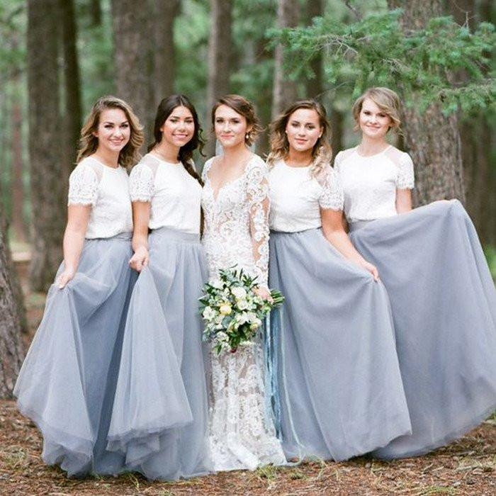 short sleeve white top light grey tulle skirt popular bridesmaid
