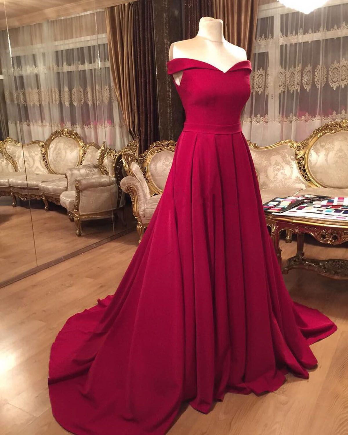 b5746f11d54 Strapless burgundy off shoulder long train evening dress