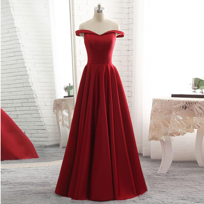 a7db77489e Off the shoulder red formal evening gown a line prom dress long