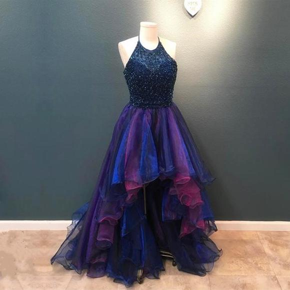371267affeb3 Fashion High Low Halter Ruffled Tulle Prom/Homecoming Dress with Beading on  Storenvy