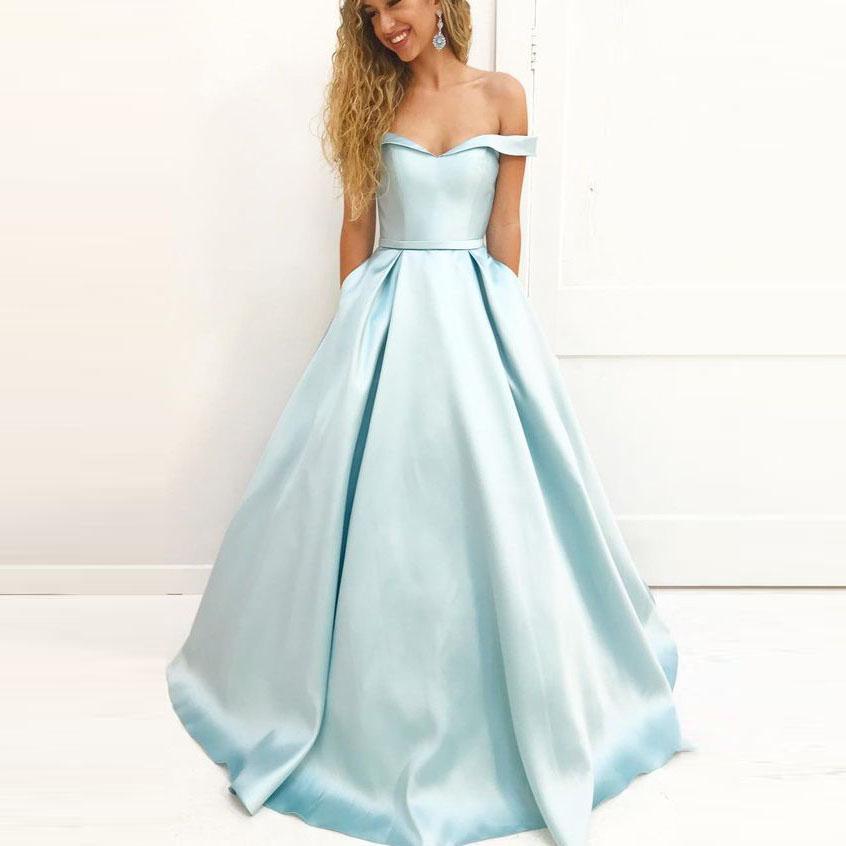 Ice Blue Off The Shoulder Military Ball Long Prom Dress A Line ...