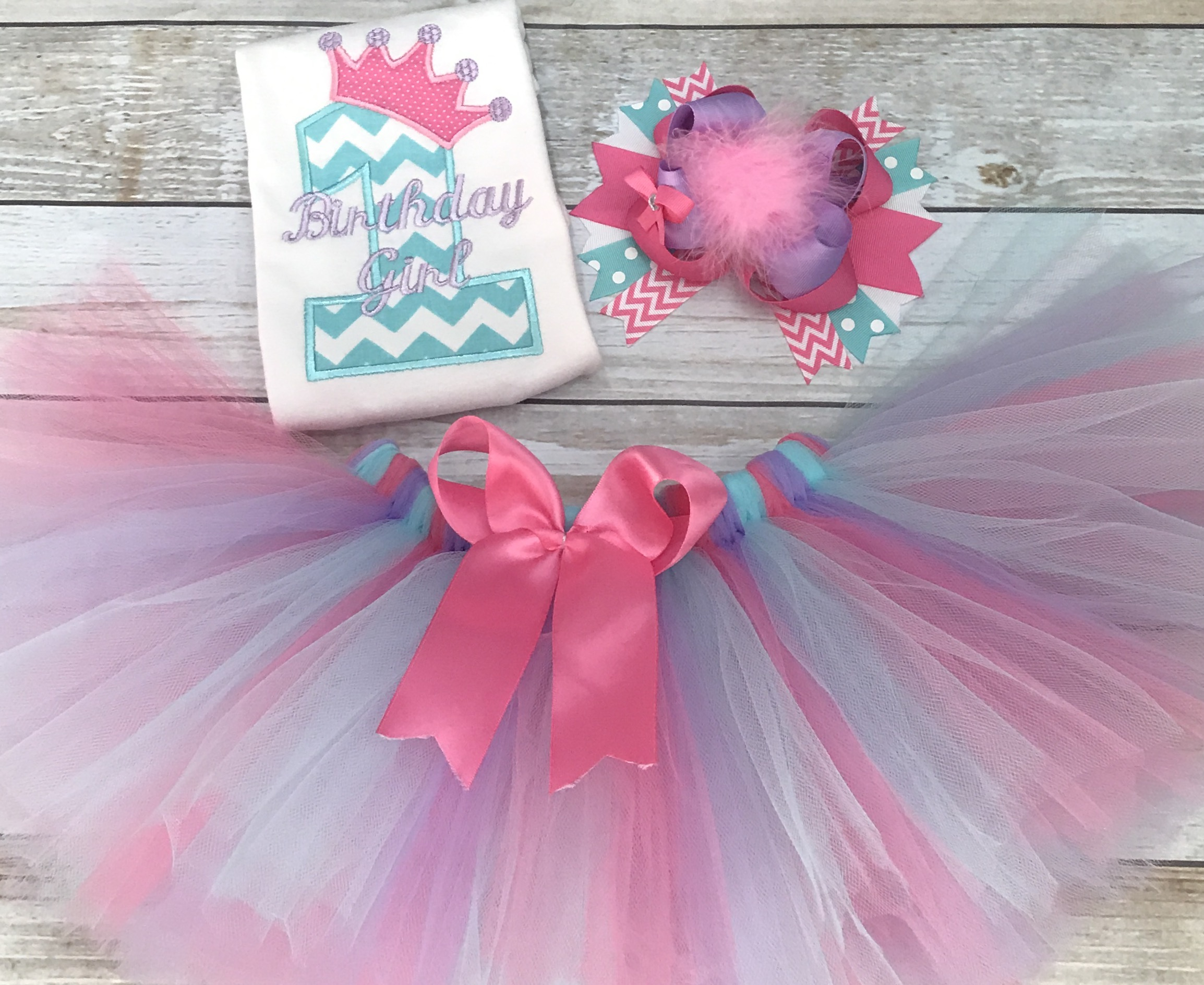 7f9d20fbe First Birthday Outfit Princess Aqua, Lavender, and Pink Tutu and Hairbow on  Storenvy
