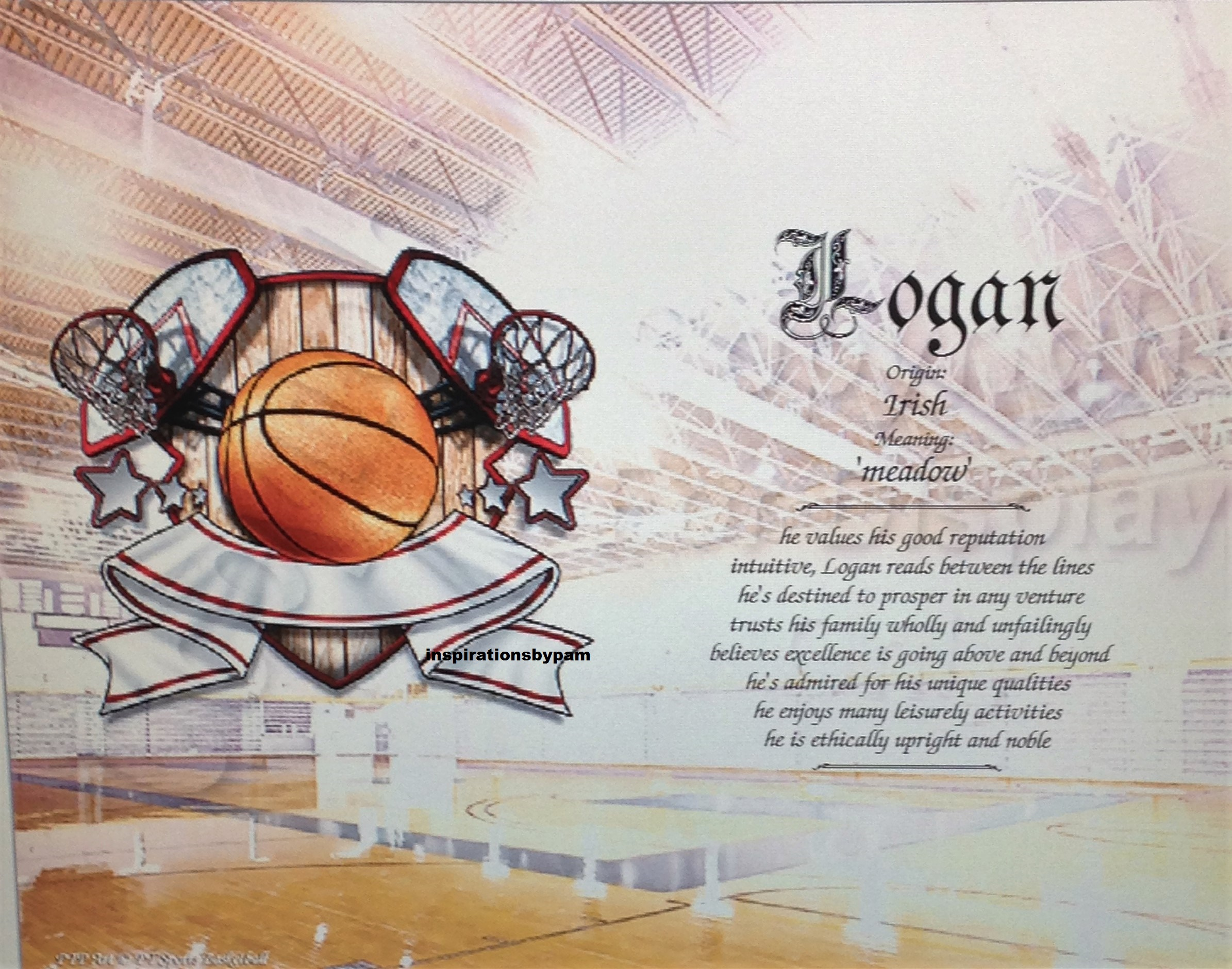 Personalized First Name Meaning 8x10 Art Print-Any Name-Basketball Art