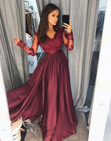 0c41fe47a289 ... Burgundy long sleeve lace long prom dress, lace prom dress - Thumbnail  ...