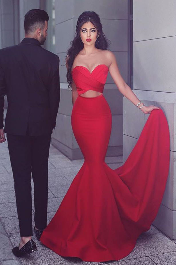Gorgeous Strapless Mermaid Red Long Prom