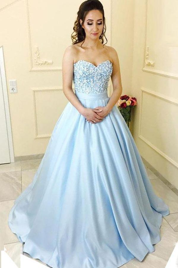 Blue Satin A-line Princess Sweetheart Neck Strapless Long Prom ...