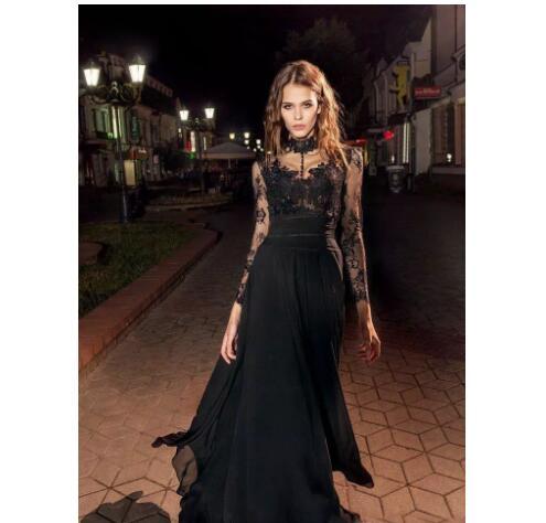 5ba7d95411 2018 Modern Black Prom Dresses Illusion Long Sleeves High Collar Lace  Chiffon Evening Dress Party Wear