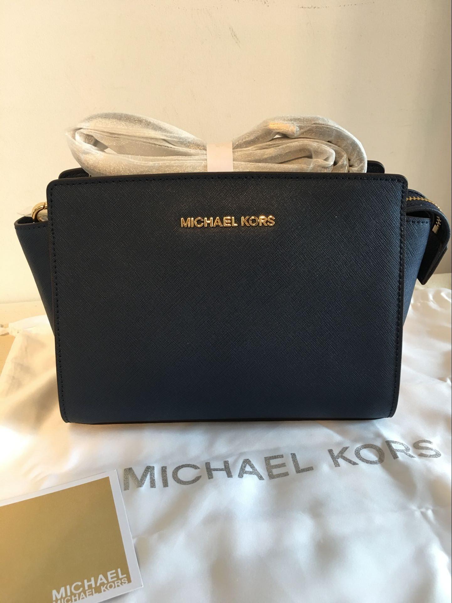3fd725fce7fa MICHAEL KORS Selma Medium Messenger Crossbody Bag Navy Blue Authentic New  on Storenvy