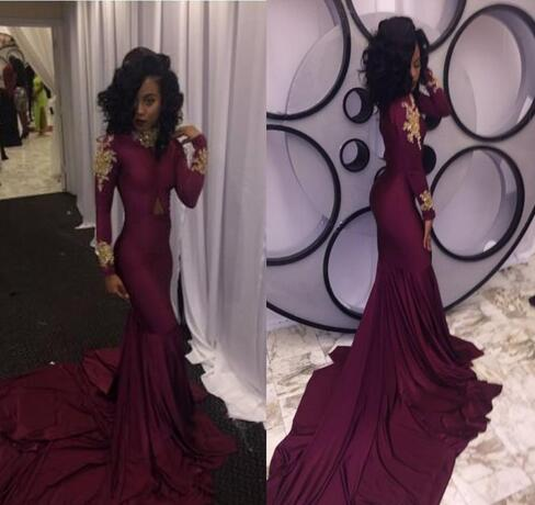 6fd65aa7f36 African Burgundy with Gold Appliques Modest Long Sleeves Prom ...