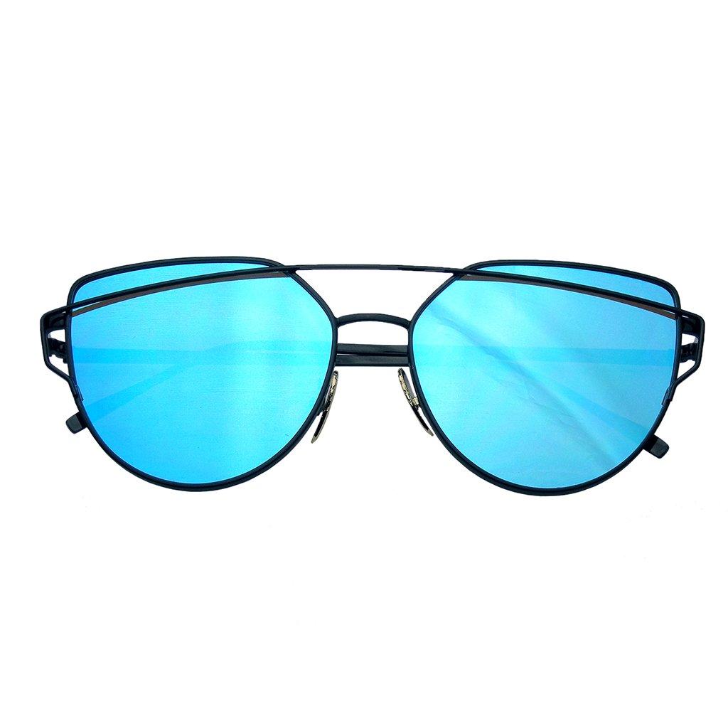495b3e783b ... Cat Eye Mirrored Flat Lenses Aviator Sunglasses Metal Frame Womens  Shades - Thumbnail 2