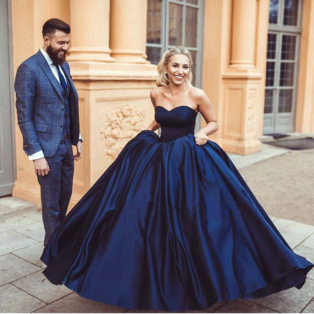 Greek Prom Dresses Uk Pictures Fashion Gallery: 2018 Elegant Prom Dress, Ball Gown Prom Dress, Navy Blue