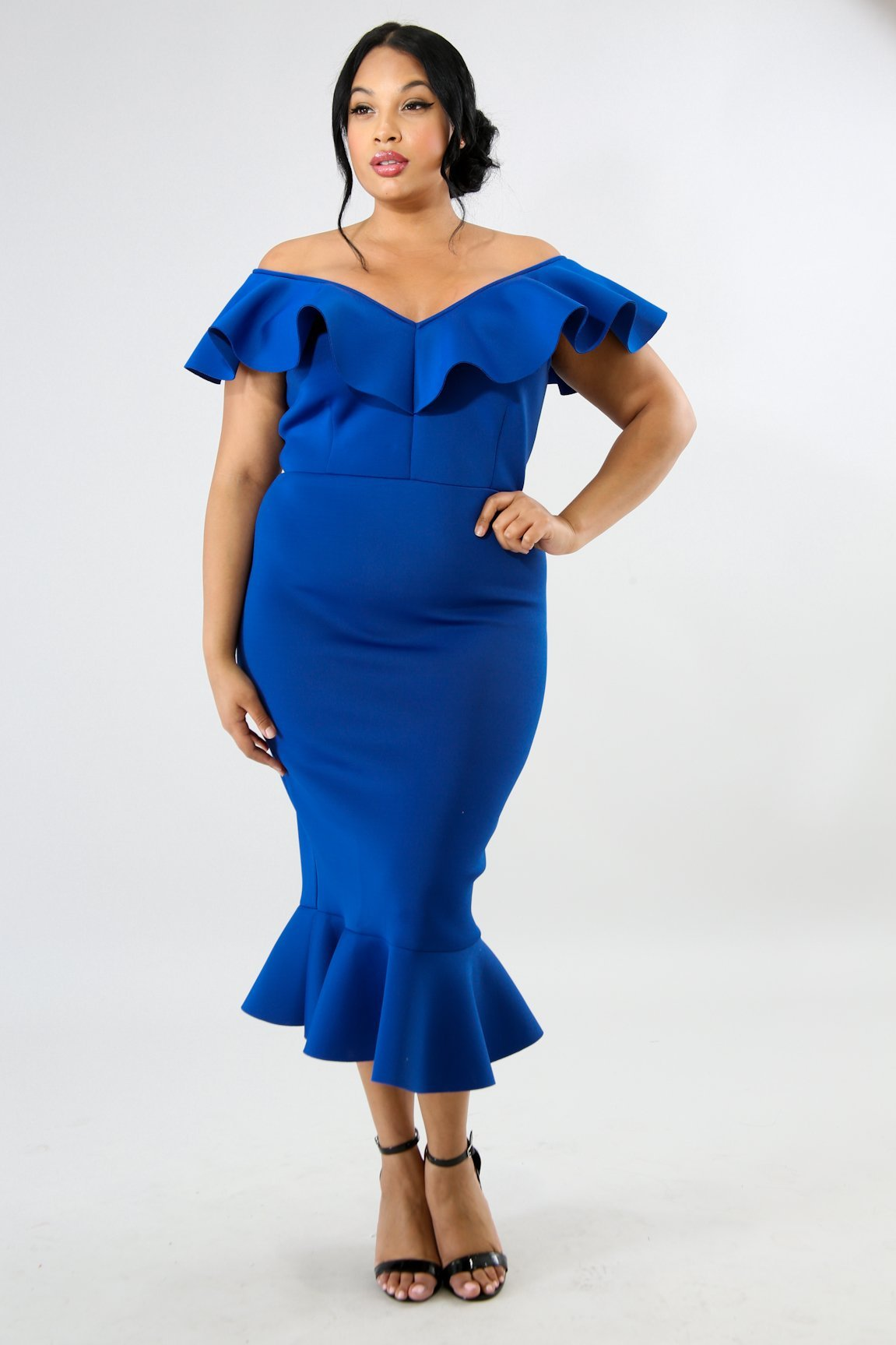 OFF SHOULDER RUFFLE SCUBA MAXI STRETCH V-NECKLINE PLUS SIZE MAXI  DRESS-ROYAL BLUE sold by Fashion XOXO Shop