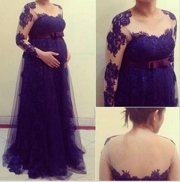 863400c6393 Elegant Maternity Prom Dresses Long Illusion Neckline Empire Waist Pregnant  Evening Dress Floor Length Lace Plus