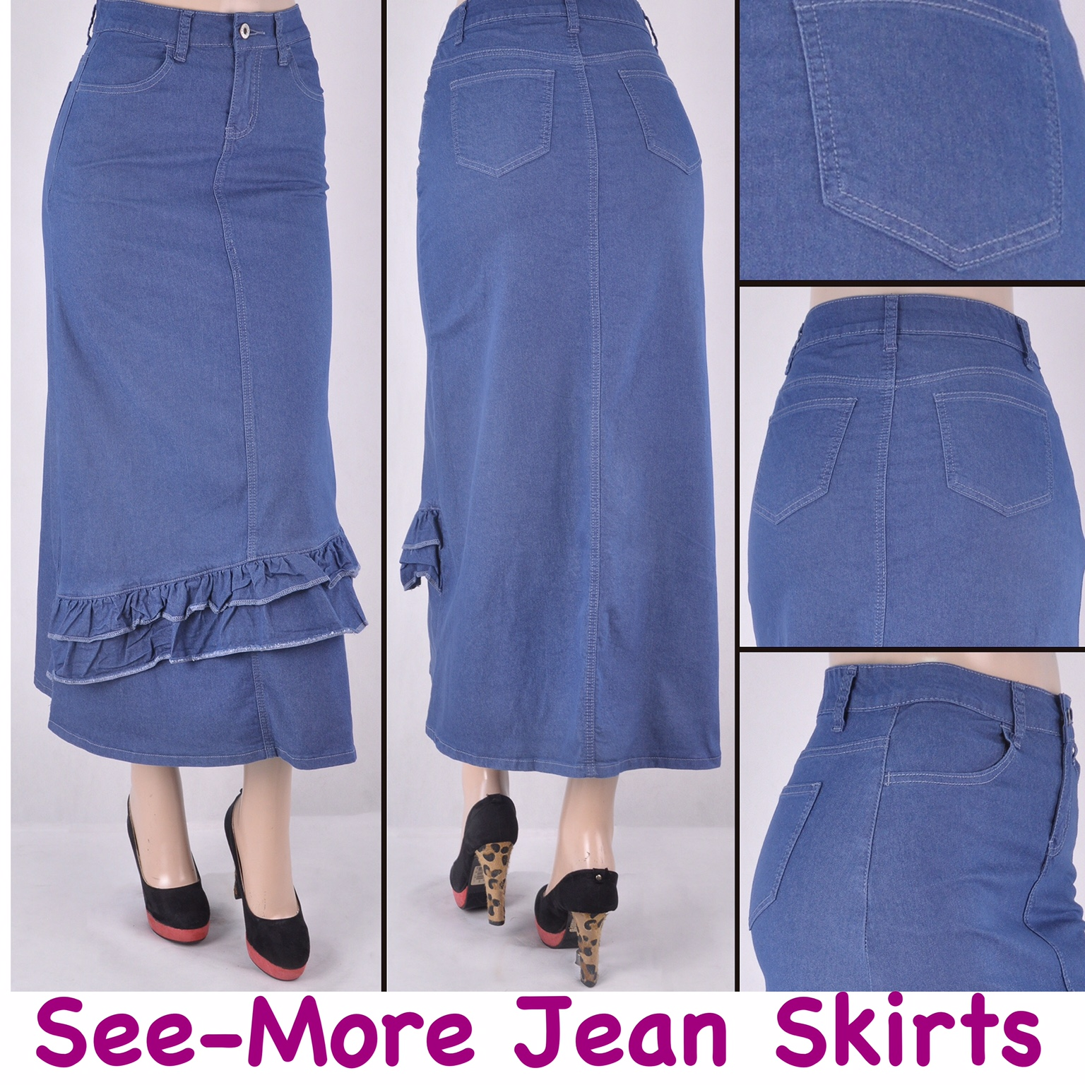 4e249f2241 KENZIE LONG RUFFLE SKIRT BLUE · See-More Jean Skirts · Online Store ...