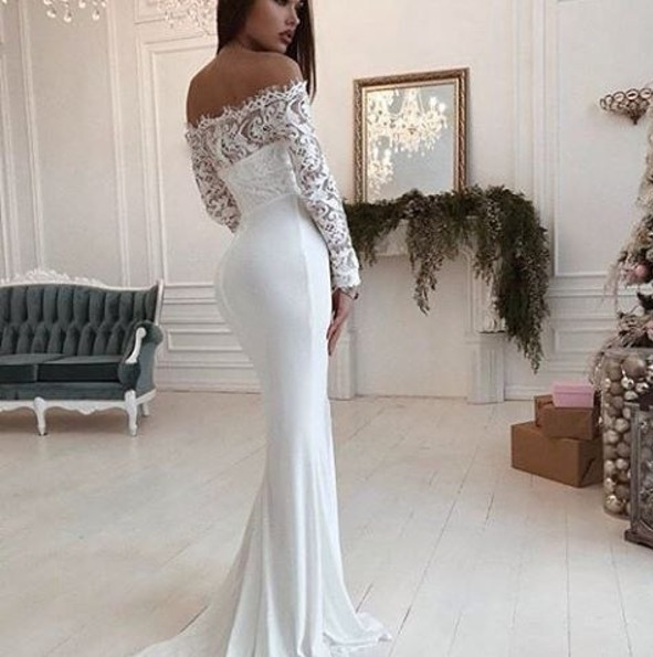 5ae86eb83fb Charming Mermaid Off-Shoulder Long Sleeves White Wedding Prom Dress with  Lace - Thumbnail ...