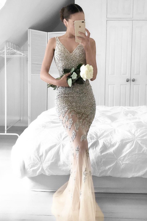 mermaid vneck beading sweep train silver prom dress with