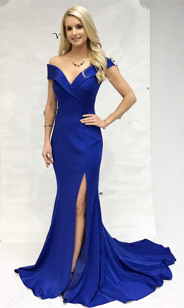 47bb0052131 Gorgeous Off the Shoulder Royal Blue Mermaid Long Prom Dress with ...