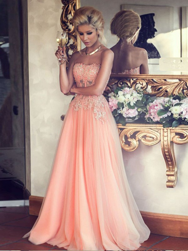 3785981b754 Hot Sales A-line Strapless Lace Appliqued Bodice Blush Pink Tulle Skirt Long  Prom Dresses
