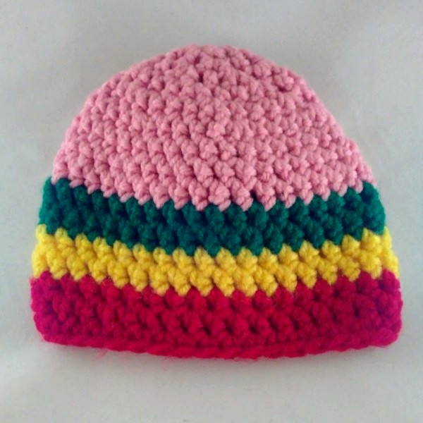 9f4c4443391 Hat - baby girl - pink w rasta stripe edge in acrylic