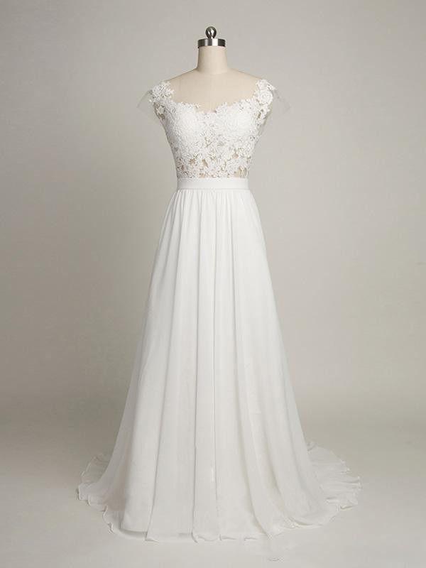 Elegant Beach Wedding Dressescap Sleeves Back V Lace Wedding Dresscheap Bridal Gowns J97 From Yukesdress