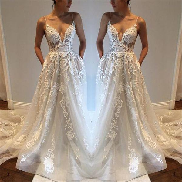 White Lace Prom Dress,Thin Strap Low Back Prom Dress,White Lace ...