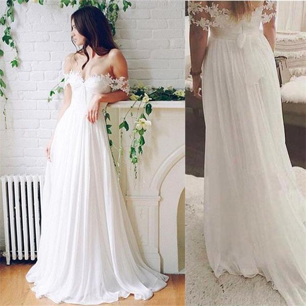 db15f6b8759e Simple White Lace Chiffon Wedding Dresses,Flowy Simple Beach Wedding Dresses,Affordable  Bridal Dresses