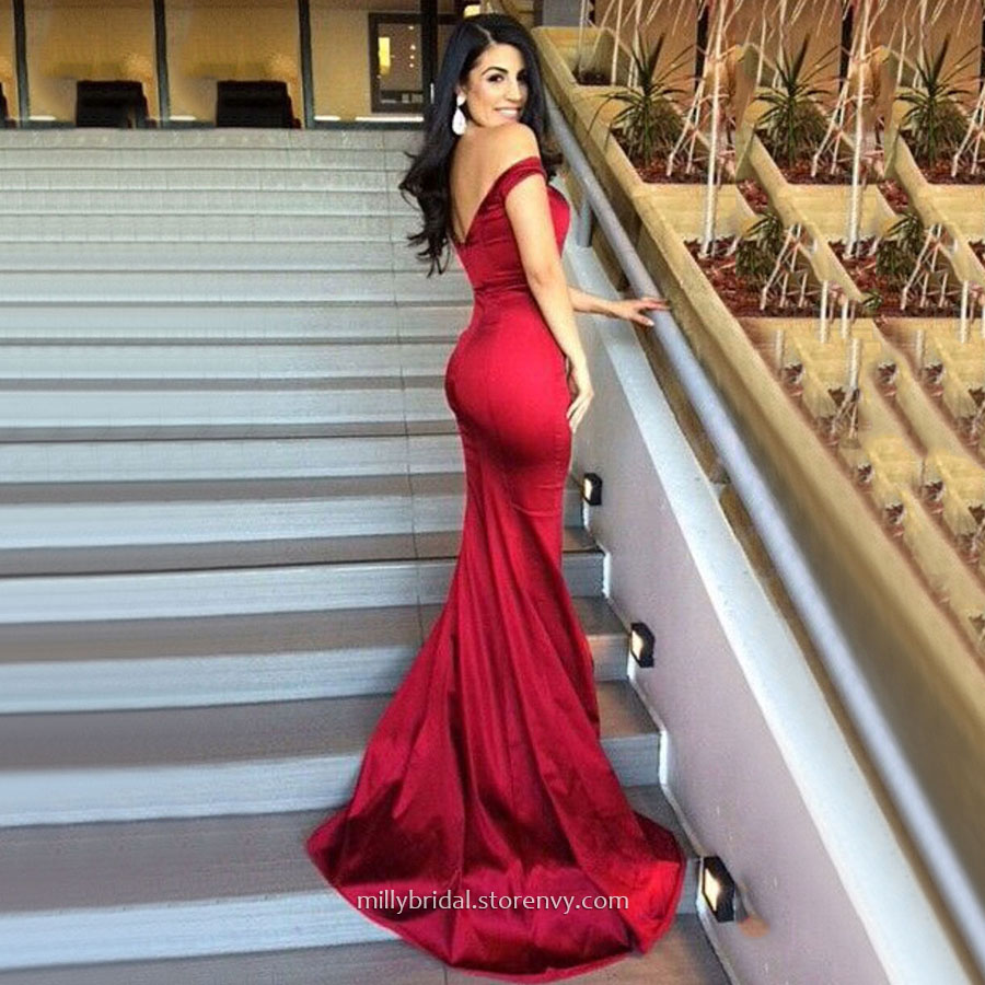 7987b788b8da Simple Red Long Prom Dresses,Trumpet/Mermaid Off-the-shoulder Evening  Dresses