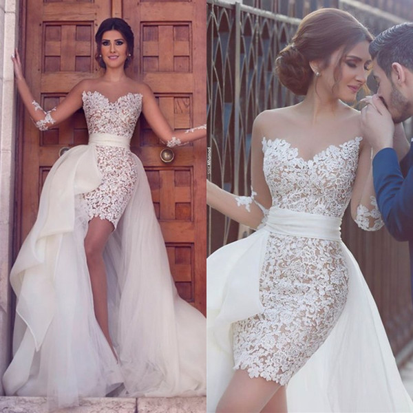 Sheath Sweetheart White Lace Short Eveningwedding Dress With