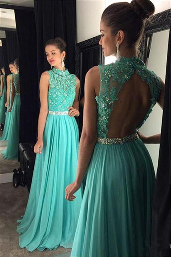 ca324c83c285 Sparkly Graduation Dresses, A Line O Neckline Floor Length Applique Lace Beaded  Prom Dress,