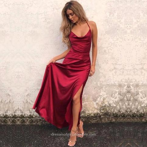 Popular Burgundy Prom Dresses A Line Cowl Neck Ankle